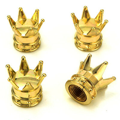 Set of 4 Golden Crown Auto Wheel Tire Tyre Valve Dust Caps Covers Tire Universal
