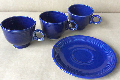 Vintage Fiesta cobalt blue 3 ring handle cups and one saucer coffee tea cup