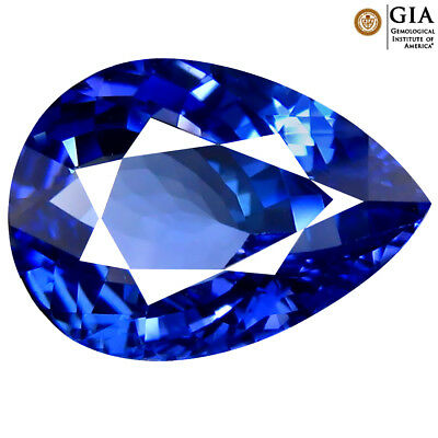 3.41 ct GIA CERTIFIED TERRIFIC PEAR CUT (12 X 9 MM) BLUISH VIOLET TANZANITE