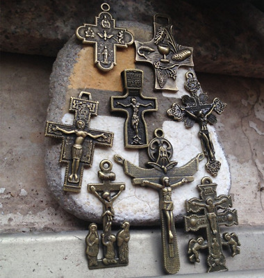 8 PCS different antique bronze Cross Crucifix Crosses Pendant Rosary Supplies