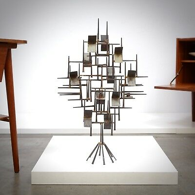 1960s Mid Century Modern Abstract Metal Table Sculpture Jere Bertoia Eames Era