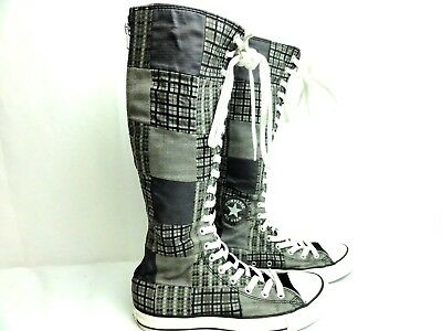 Converse All Star Shoes Womans 9 Mens 7 Plaid Gray Calf High Lace Up