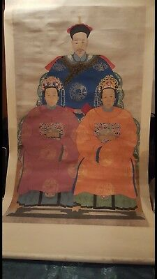 19th C. Chinese Scroll Painting - Mandarin of the 2nd Rank with 1st & 2nd Wives
