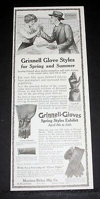 1916 Old Magazine Print Ad, Grinnell Gloves, For Spring, Summer, Styles Exhibit!