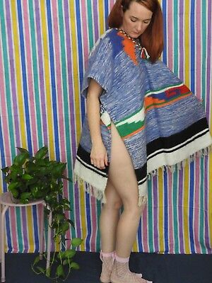 Vintage MEXICAN PONCHO SERAPE Unisex Child Or Adult Aztec 70s