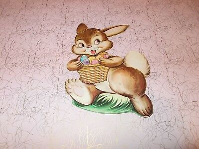 "Vtg Easter Bunny Die Cut Cardboard Decoration 8"" 1950 Rare Made In Usa #4"