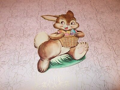 "Vtg Easter Bunny Die Cut Cardboard Decoration 8"" 1950 One Sided Rare Made In Usa"