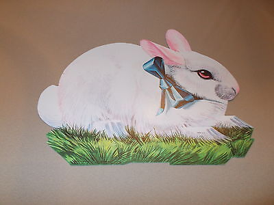 "Vtg Eureka Easter Bunny Die Cut Cardboard Decoration Large 11"" Blue Ribbon Cute"
