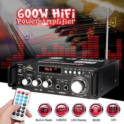 600W Bluetooth Stereo Audio Amplifier Car Home HiFi Music SD USB FM AMP