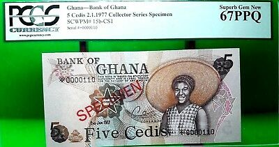 MONEY GHANA 5 CEDIS 1977 BANK OF CENTRAL SPECIMEN SUPERB GEM UNC PICK #15b CS1