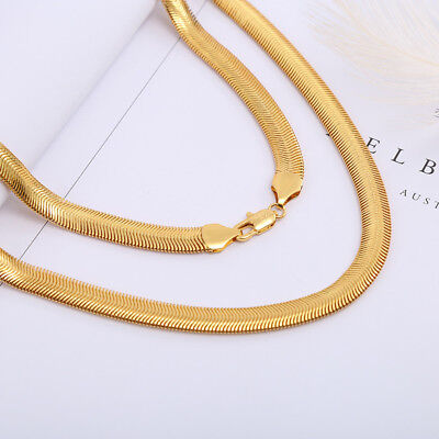18K Yellow Gold Filled Snake Chain Choker Necklace Men Women Jewelry 20""