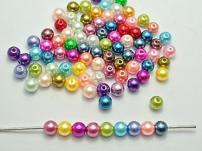 200 Mixed Colour Plastic Faux Pearl Round Beads 8mm Imitation Pearl