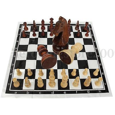 AU 32 Pieces Wooden International Chess Set Foldable Board Portable Children Toy