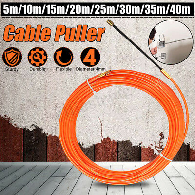 4MM 5-40M Fiberglass Wire Cable Rod Electrician Push Puller Duct Rodder Snake