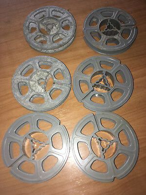 6 x 8mm Empty Film Reels - Vintage Types Likely From The 1950s