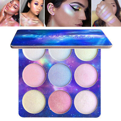 9 Colors Highlighter Palette Face Brighten Eyeshadow Cosmetic Makeup Glitter