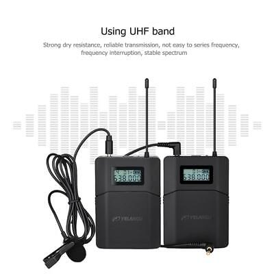 UHF Wireless Lavalier Microphone Lapel Mic Receiver+Transmitter for DSLR Camera