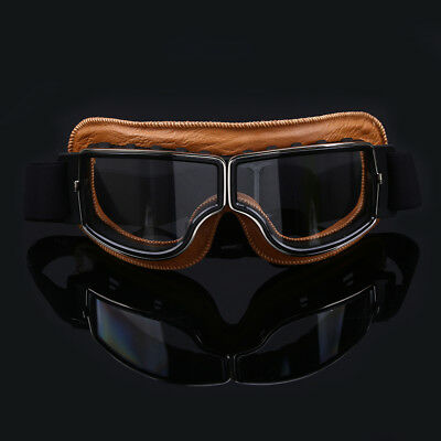 Retro Motorcycle Goggles Motorbike Leather Copper Vintage Aviator Pilot Glasses