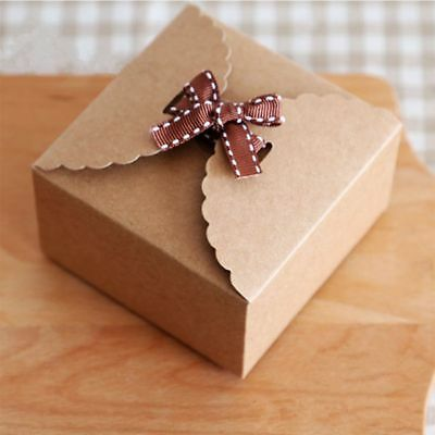 10pcs Kraft Paper Box DIY Wedding Favor Gift Box Small Single Cake Candy Boxes