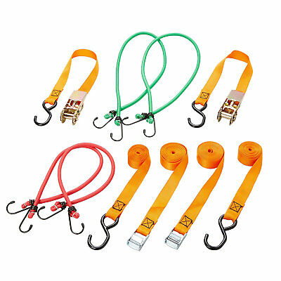 Diall Ratchet TIE DOWN AND HOOKS BUNGEE STRAPS PACK OF 8 BOAT CAMPING CAR BNIB