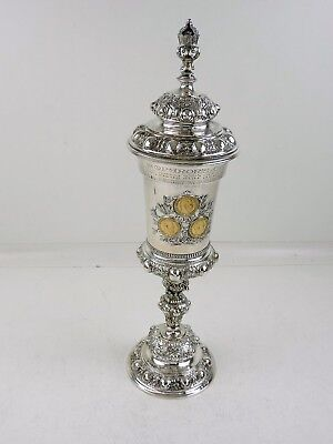 Possibly unique THREE EMPERORS SILVER GOBLET 3 gold 20 MARK coins Germany 1888