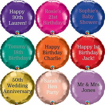 "Personalised Foil Balloon Round 18"" Message Name Birthday Party Decorations Age"