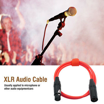 3 Pin XLR Microphone Cable Male To Female Balanced Patch Lead Mic OFC, Red, 1m