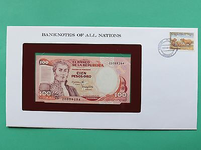 1983 Colombia 100 Pesos Uncirculated Franklin Mint Banknote Cover SNo46108