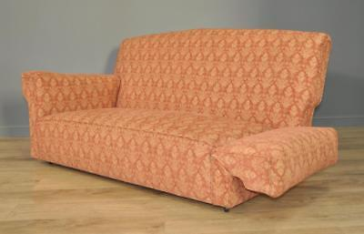 Attractive Large Vintage Art Deco Drop End Sofa Upholstered Couch Settee