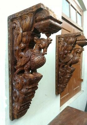 Cute Wall Corbel Pair Peacock Vintage Wooden Bracket Bird Sculpture Statue Decor