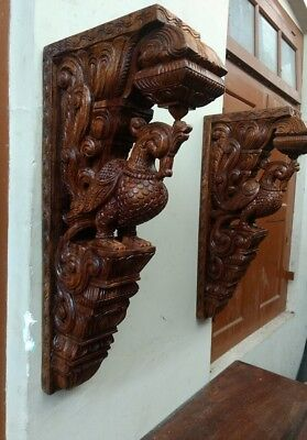 Cute Wall Corbel Pair Peacock Vintage Wooden Bracket Sculpture Statue Art Decor