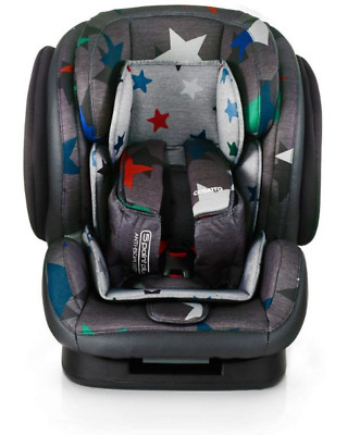 New Cosatto Hug group 123 anti escape car seat in Grey Megastar from 9 to 36kg