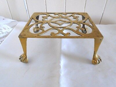 Large Vintage Solid Brass Trivet With Ball & Claw Feet