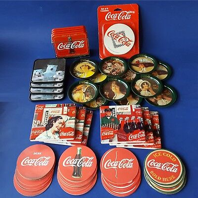 Set of 60 Assorted Coca-Cola Logo/Slogan Coasters. Round Square Polar Bear. Coke