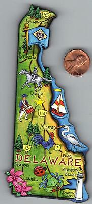 Artwood  Delaware  De   State  Map Magnet    Dover  Wilmington  Rehoboth Beach