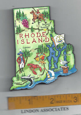 Rhode Island  Artwood   Jumbo State Map Magnet  Providence Newport Pawtucket