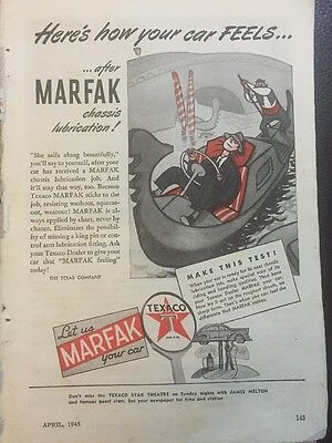 Original 1940s Texaco Marfak Vintage Print Advertisement Automobilia GM Rail