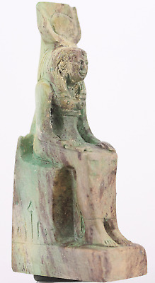 Egyptian faience Isis with Hator crown statue 9,8 cm.