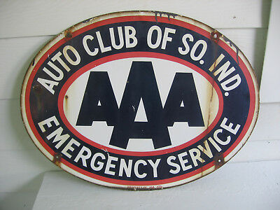 Original PORCELAIN Two-Sided Sign AAA AUTO CLUB SOUTH IND. EMERGENCY SERVICE