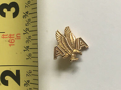 VTG Antique American Airlines 5 Year Service Pin Back 10K Gold Lapel Balfour