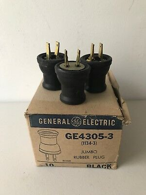 3x General Electric Vintage Black 2 Prong AC Connector Plugs- Jumbo Rubber