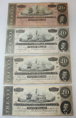 Lot of 4 1864 $20 Note Confederate States Richmond CSA Twenty Dollar Banknotes
