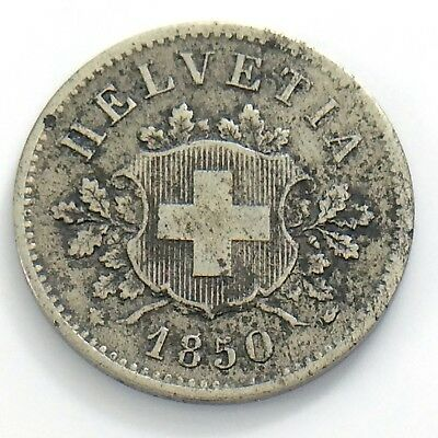 1850 Switzerland 10 Ten Rappen Helvetia Swiss Billon Circulated Coin H979