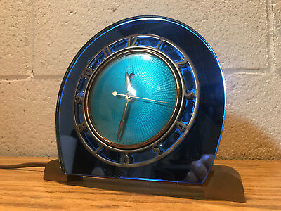 Vintage 1930's Art Deco Electric Telechron Clock Blue Mirror Glass Solid Brass