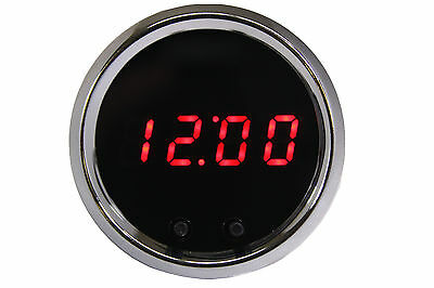 Automotive Digital Clock RED LEDs Chrome Bezel Made in USA! Intellitronix Dash