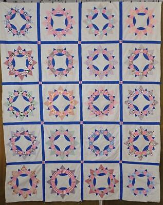 Beautiful Ceasers Crown c1930s Vintage Quilt Top 82x66