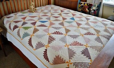 Antique 19th century Calico Kansas Troubles Quilt *