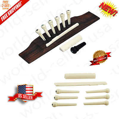 Guitar Parts 6 String Acoustic Guitar Bone Bridge Pins With Saddle And Nut