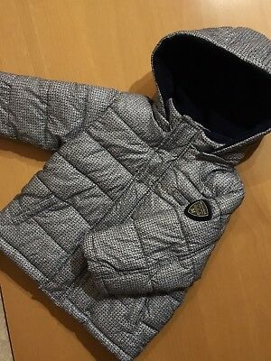 Age 1Yr Mayoral Baby Boys Grey/blue Quilted/padded Fleece Lined Jacket With Hood
