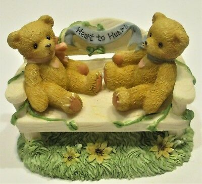 """Cherished Teddies TWO BEARS ON A BENCH """"Heart to Heart"""" CRT240 Enesco"""